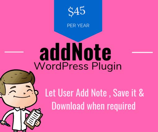 let user add Note to wordpress Plugin