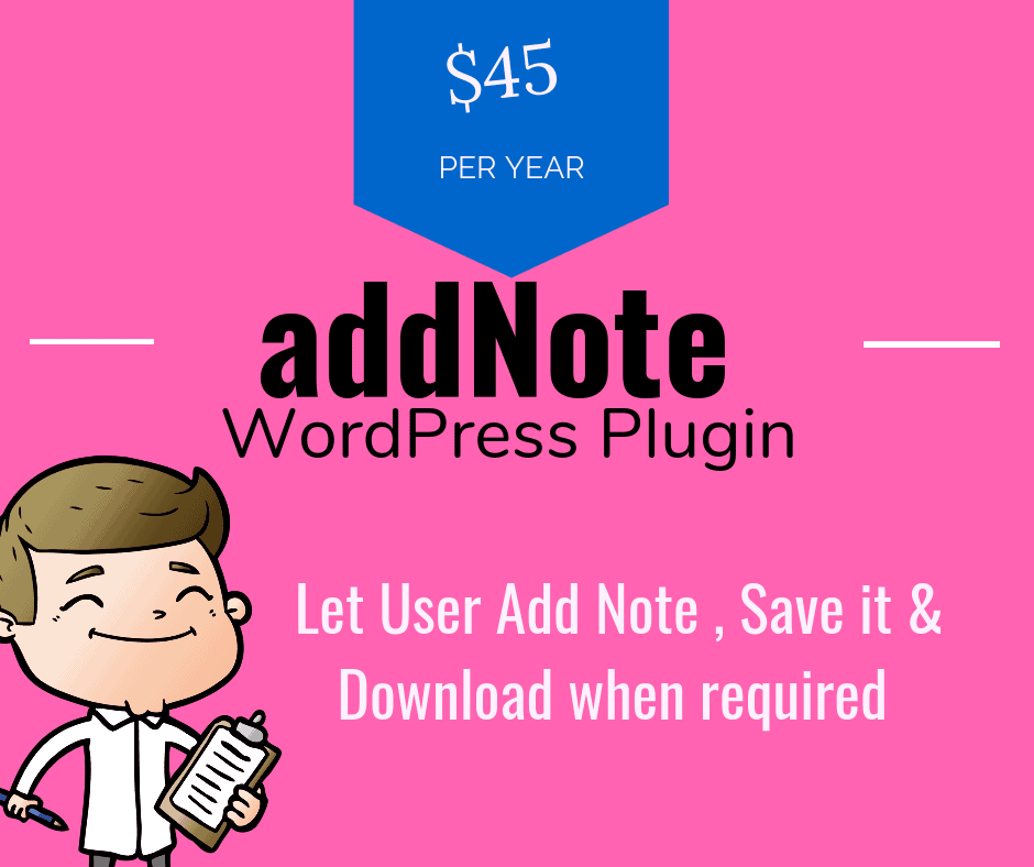 AddNote Wordpress Plugin - Let Users Add Notes , Save & Download It !