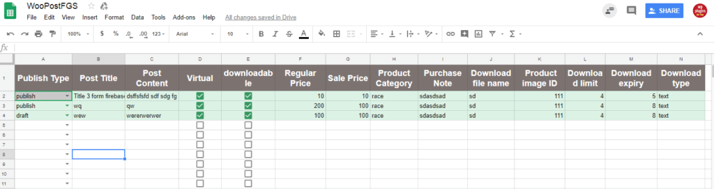 google sheet to woo-commerce