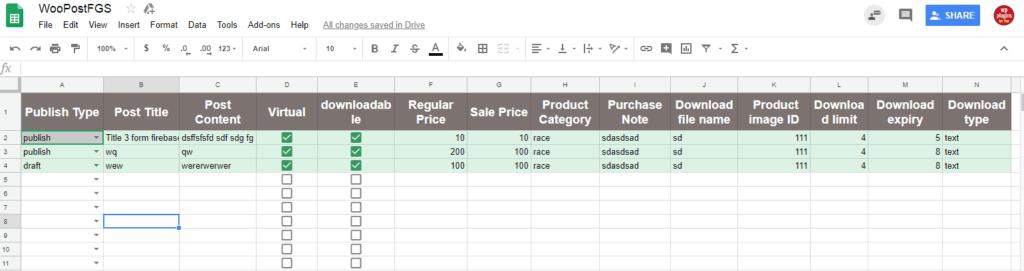 google sheet to woo-commerce