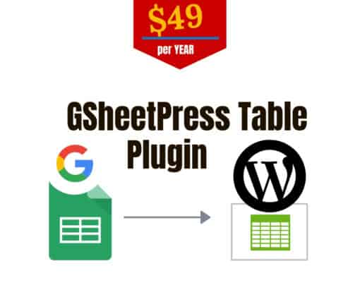 gsheetpress table plugin