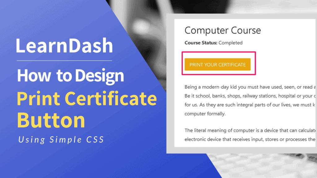 learndash Print certificate button